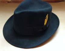 Vintage Mallory Fifth Avenue Fedora, men's fedora hat, black vintage hats, Mallory Hat felt black yellow feather men's hats size small 6 3/4