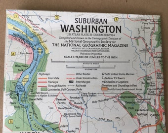 1964 Map of Washington DC. Vintage Map Washington DC National Geographic
