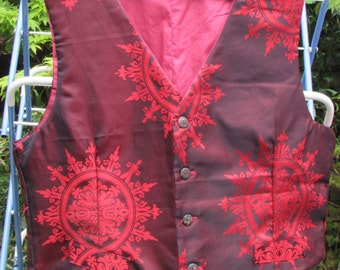 Handmade fully lined red patterned L/XL waiscoat.