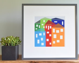 Modern Art Print, Wall Art, Limited Edition, Children's Decor, [Cityscape.Primary] UNFRAMED Print