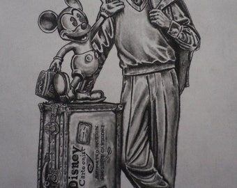 "Walt Disney / Mickey Mouse statue print 8""x10"" signed and numbered by the artist"