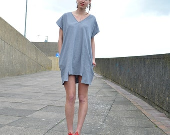 Handmade Oversized Tshirt Dress, 100% Organic Cotton Jersey, Square dress