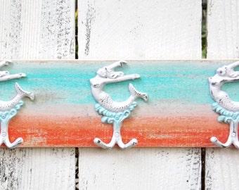 Mermaid Decor~Coral~Turquoise~Mermaid Hook~Towel Rack~Beach~Pool House~Coastal~Rustic~Mermaid Wall Decor