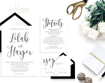 Printable Wedding Invitation Suite / Calligraphy / Wedding Invite Set - The Lilah Suite