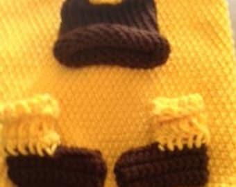 Preemie/Newborn Sunflower Cocoon, Hat & Booties