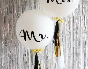 Mr & Mrs Wedding Balloons 90cm White Jumbo Black Script Writing Bachelorette Party Decoration!