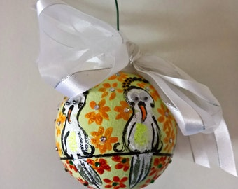 Handpainted Parrot and Flower Ornament