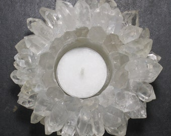 """Large & Pretty 4"""" Clear Quartz Point Lotus Flower Candle Holder - Best Price!"""