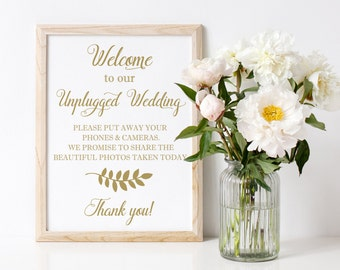 Unplugged Wedding sign, Unplugged Ceremony Sign, No cell phones sign, DIY Wedding ceremony sign, Welcome to our Unplugged Wedding