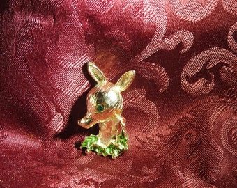 stunning signed gerrys gold plate enamel and rhinestone figural reindeer brooch