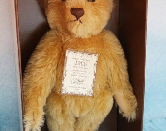 Steiff limited edition 1906 reproduction mohair teddy bear mint in original box with certificate and ear tag