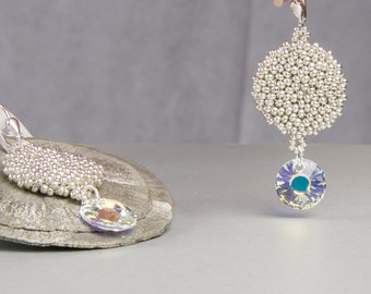 Earrings, pendant earrings, silver, beadwork, 925 he silver