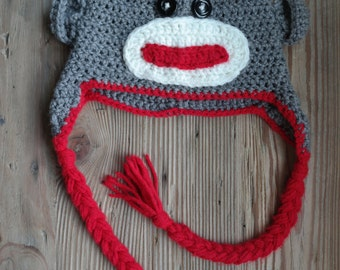 Crochet Sock Monkey Hat Baby to Adult