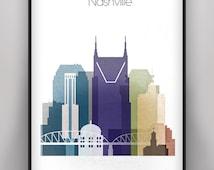Nashville Skyline, Nashville Tennessee Poster, Cityscape Wall Art Print, Digital Print, Nashville Cityscape Decor, City Skyline Poster