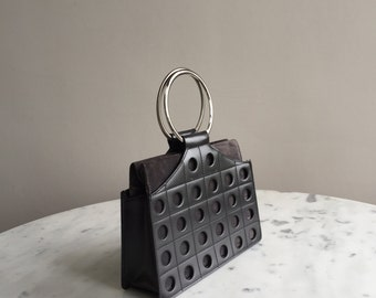 Tanner Krolle black & grey small leather / suede bag