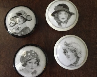 Vintage ladies faces shabby chic black and white cabinet dresser drawer knobs pulls
