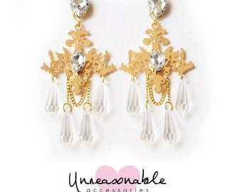 Handmade Chandelier earrings in Gold by Unreasonable Accessories : UA0001-01