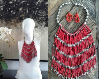 Boho necklace, Native American Beaded Necklace, Amazonian Necklace,