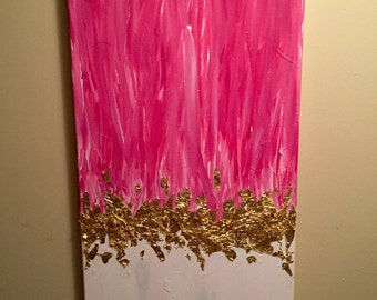 Abstract Pink Gilded Canvas