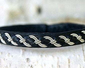 Sami Lapland Viking leather bracelet   Black men leather cuff bracelet   Friendship Swedish Saami Nordic armband   Braided leather jewelry  