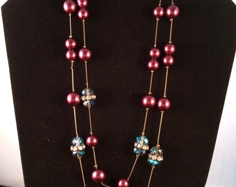 Stunning Vintage Coldwater Creek Dual Strand Blue Iridescent Bead & Cranberry Beaded Necklace with Rhinestone Disc Accents