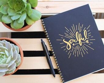 Gold Foil Letterpress Journal - Soulful 9x7 Journal