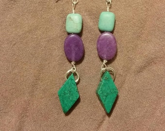 Turquoise and Purple Earrings