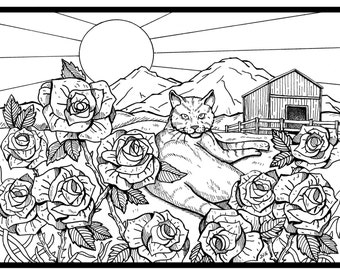 Cat coloring page by JV Creative