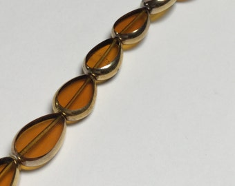 Vintage German Glass Beads 22K Gold Edging - 12 Pieces - #251