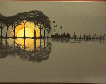 """Guitar landscape Painting 12""""x 24"""".  1/2"""" profile."""