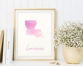 Louisiana map printable, Louisiana print, Louisiana poster, Louisiana decor, Housewarming, Louisiana sign, Louisiana wall art, Watercolor