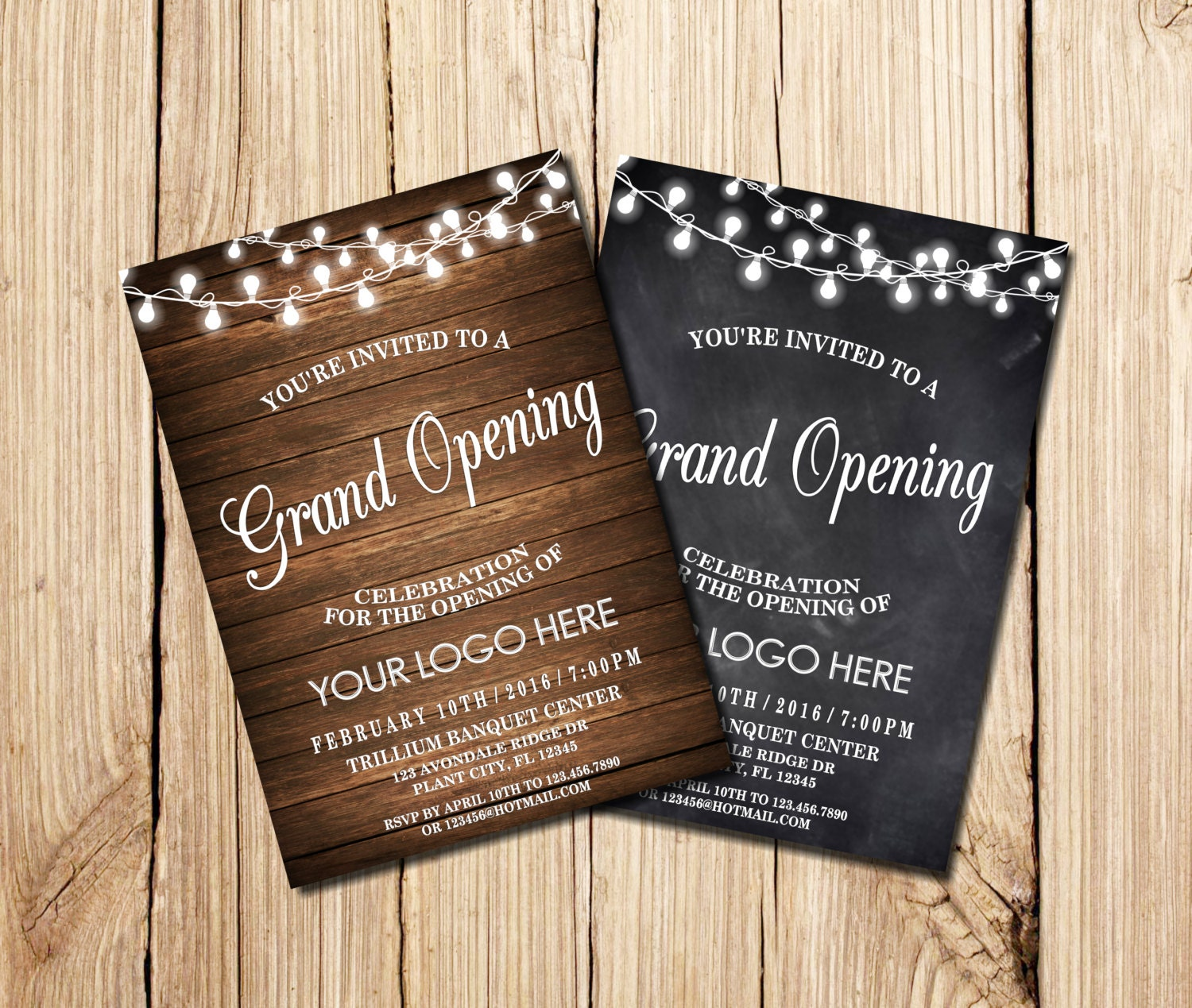 Grand Opening Invitation Open House Chalkboard String