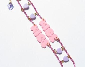 SWEET KISSES Bracelet - Kawaii, fairy kei, sweet lolita, pastel, pink, purple, heart, harajuku, decora, kiss, word, text, cute