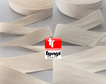 4mm~75mm (50 Meters) White / Beige Herringbone Cotton Tape. Twill Tape, Webbing, Straps, Decoration, Craft, Bunting, Sewing, Dress Material.