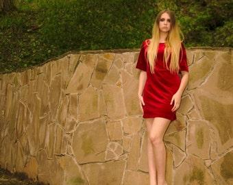 Red corduroy (velvet) dress (SS16)