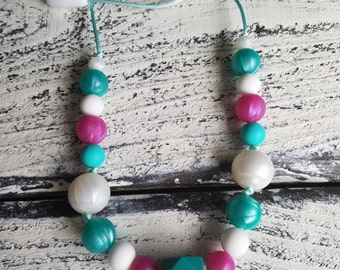 Metallic Silicone Teething Necklace,Nursing Necklace,BPA-Free Silicone Teether,Chew Beads,Baby Shower Gift,Teether,Baby Accessories