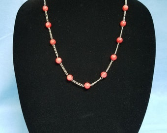 Coral Round Beads and Silver Chain Necklace, silver, coral, glass, round, chain, various lengths