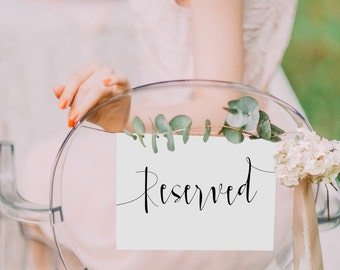 "Printable ""Reserved"" Wedding Sign, Instant Download!"