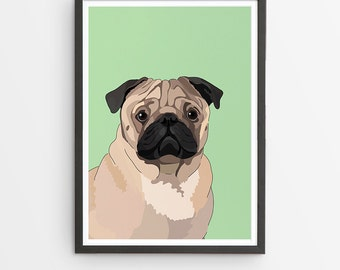 Pug Illustrated Breed Print  / Various Colours /  Dog Lover's Gift / Poster