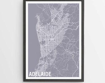 Adelaide City Map Print - Various Colours / Australia / City Print / Gifts for Men / Australian Maps / Giclee Print / Poster