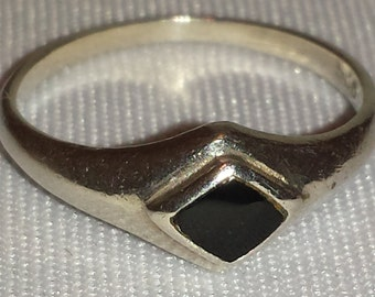 Vintage 925 Silver and Black Onyx Pinky Ring Size 3