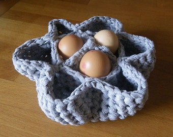 Egg Basket, crate made from recycled T shirt yarn