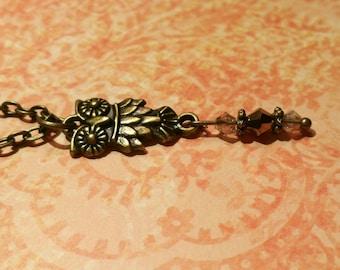 Owl Necklace / Boho Necklace / Vintage Necklace / Charm Necklace / Bead Necklace