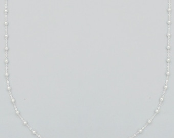 Danity Minimalist Delicate Tiny Sterling Silver 3mm Ball Station Chain Necklace