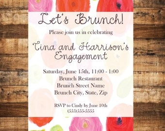 Brunch Invite for any celebration - Brunch Invitation - Brunch - Let's Brunch - Brunch Roses