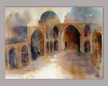Original watercolour painting, 36x50cm, powerful and simple artwork, from Persian mosque, suitable for gift, Persian art, by Faranak Rabbani