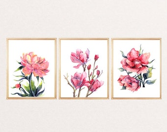 Watercolor flowers printable Set of 3 flowers print wall art decor room decor home decor illustration flower poster pink red 8x12 12 x 16