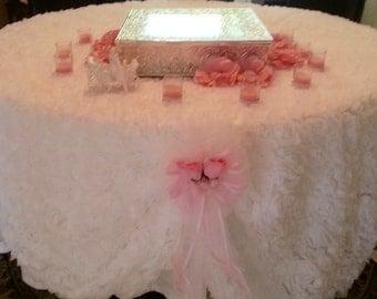"Sale! 96"" Chiffon Rosette tablecloth, Rosette tablecloth, Rose tablecloth"