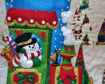 """Bucilla Christmas Stocking """"Candy Express""""/Personalized Embroidered Gift/Handmade/Bucilla Christmas Holiday Decoration Idea"""