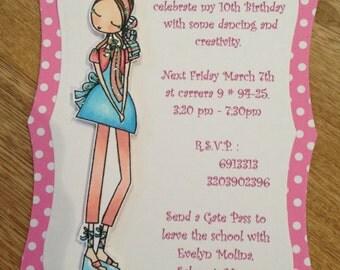 Hand Painted Birthday Invitation